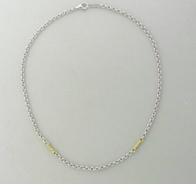 Judith Ripka Silver 18k Gold Chain Necklace
