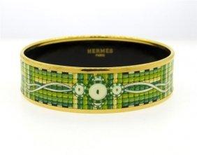 Hermes Medal Green Enamel Bangle Bracelet