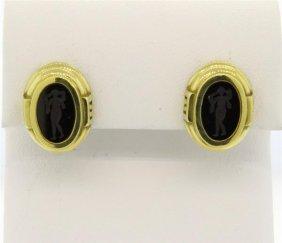 Kieselstein Cord 18k Gold Intaglio Earrings
