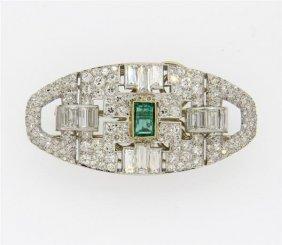 Fine Art Deco Platinum Diamond Emerald Brooch