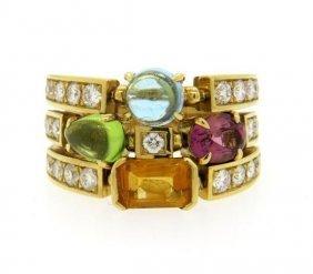 Bvlgari Bulgari Allegra 18k Gold Diamond Gemstone Ring
