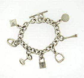 Hermes Sterling Silver Charm Bracelet
