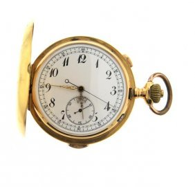 18k Gold Hunter Case Repeater Chronograph Pocket Watch