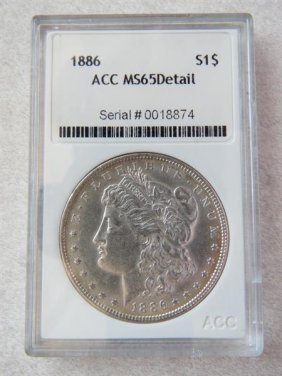 1886 Silver Morgan Dollar Us Coin
