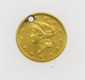 1853 Liberty 1 Dollar Gold Us Coin