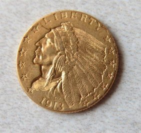 1913 Indian Head 2.5 Dollar Gold Us Coin