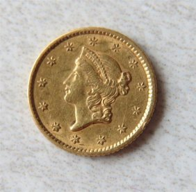 1852 Liberty 1 Dollar Gold Us Coin