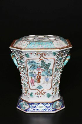 Arte Cinese A Porcelain Famille Rose Flowerpot China,