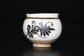 Arte Cinese A Cizhou Pottery Small Vase Painted With