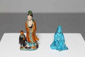Arte Cinese Two Porcelain Guanyinchina, 18th - 19th