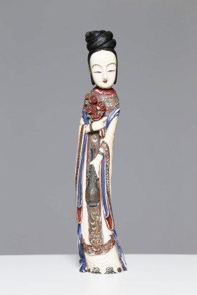 Arte Cinese A Carved Ivory Ladychina/japan, 19th