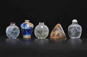 Arte Cinese Four Snuff Bottles And A Soapstone