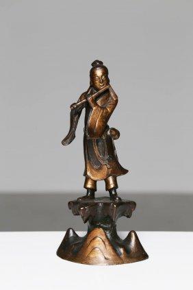 Arte Cinese A Part Gilt Bronze Figure Of A Flute