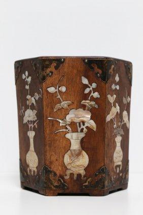 Arte Cinese An Exhagonal Wooden Brush Holder Inlaid