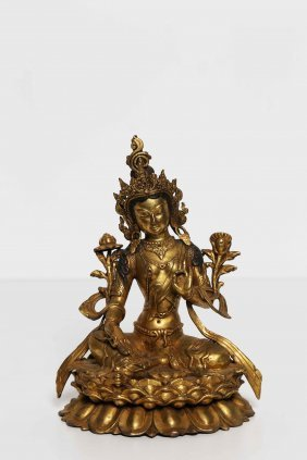 Arte Himalayana A Gilt Bronze Statue Portraying Green