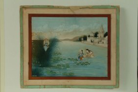 Arte Indiana A Painting Depicting Krishna In