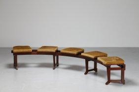Pierluigi Spadolini Curved Walnut Bench Seat With