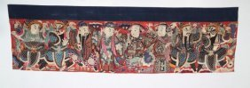 Arte Cinese Textile Embroided With Large Figures Of