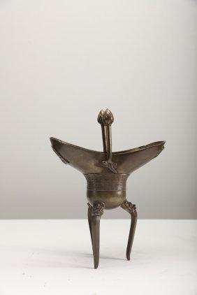 Arte Cinese A Jue Bronze Tripod Archaic Style Censer