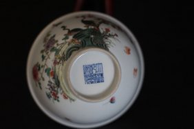Chinese Bowl With Bird Nest Flowers Art Work