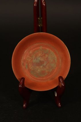 Chinese Antique Plate With Dragon Arts Inside And