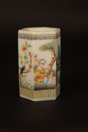 Chinese Hexagonal Vase With Art Work Of Mother And Son