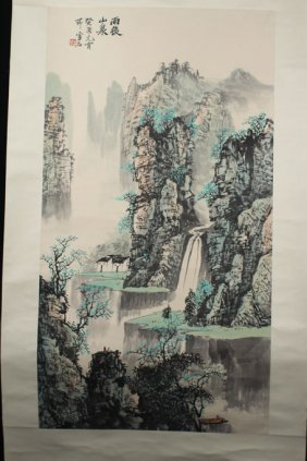 Chinese Painting Of Mountain And Water Fall
