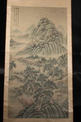 Chinese Ink Painting Of Village In The Mountain