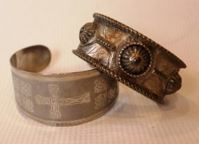 Lot Of 2 Vintage Silver Bracelets