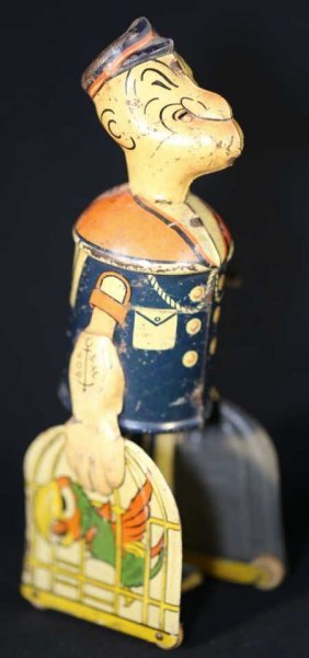 Popeye Antique Wind Up Tole Toy