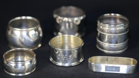 Sterling Silver Vintage Napkin Ring Lot Of Six