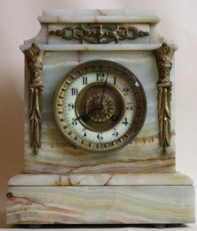 French Antique Onyx / Bronze Clock