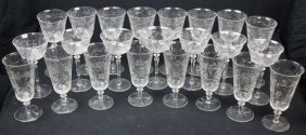 Fine Etched Crystal Stemware Grouping