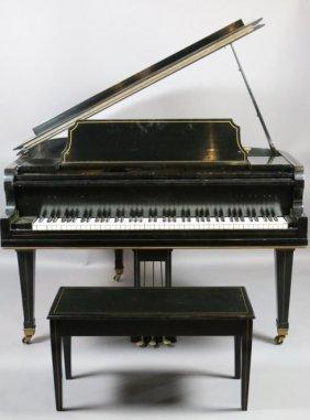 Ebonized Baby Grand Piano W/ Bench