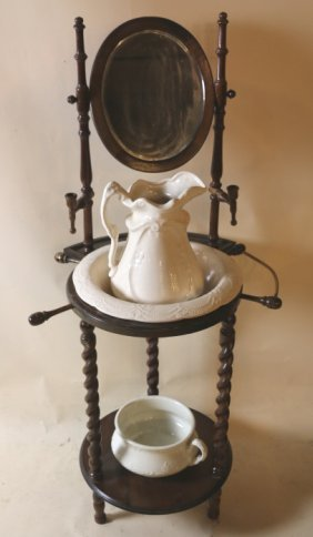 Antique Victorian Wash Basin And Pitcher Stand