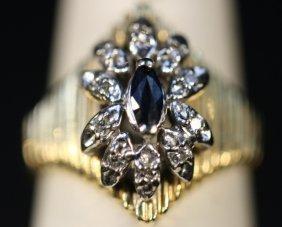 14kyg, Diamond & Sapphire Ring