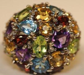 Semi Precious Multi Stone & Sterling Dome Ring