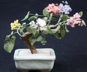 Chinese Celedon Base Hardstone Tree