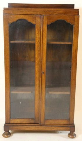 Antique Oak Tall Vitrine Display Cabinet