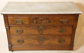 Antique Victorian Burl Walnut Marble Top Dresser