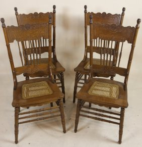 American Antique Oak Caned Seat Kitchen Chairs (4)