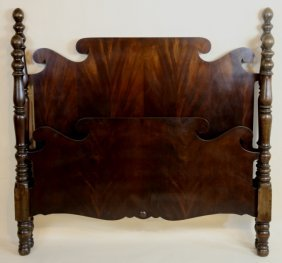 English Vintage Crotch Mahogany Full Poster Bed