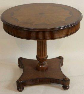 Mahogany Inlaid Single Pedestal Modern Table