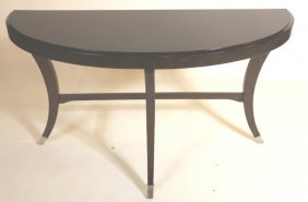 Modern Demilune Mahogany And Chrome Console Table