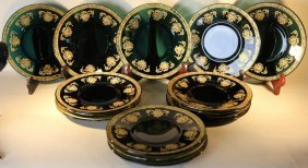 Emerald & Gilt Decorated Antique Luncheon Group