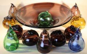 Hand Blown Italian Art Glass Fruit & Bowl Grouping