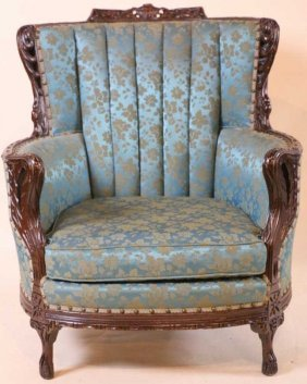 Vintage Mahogany Swan Form Wing Back Armchair