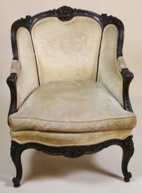French Antique Carved Louis Xv Bergere