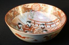 Japanese Antique Kutani Red Iron Bowl