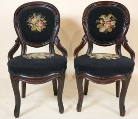 Victorian Needlepoint Mahogany Side Chairs